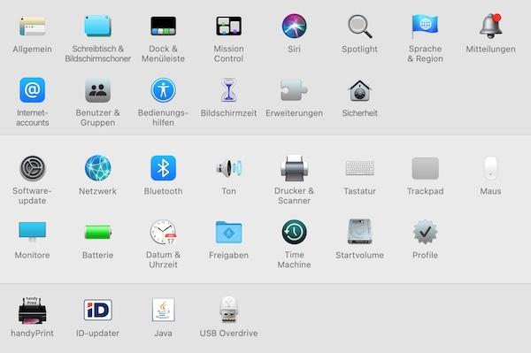 macOS Systemeinstellungen